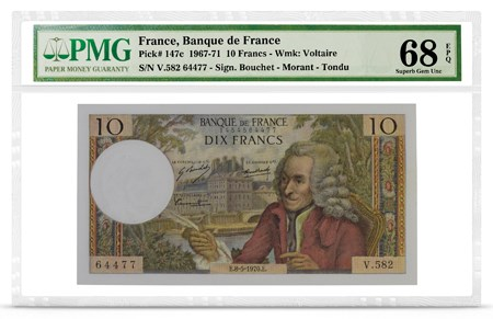 Front, France P-147c featuring Voltaire. Image courtesy PMG