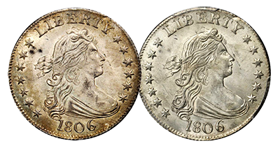 Before and After Conservation: 1806 half dollar