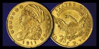 Impressive Mint State 1811 Half Eagle Gold Coin in June 2017 Stack's Bowers Baltimore Auction