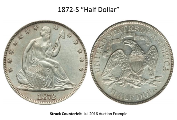 """1872-S Liberty Seated """"Half Dollar"""" attribution sheet image 1. courtesy Jack D. Young, EAC"""