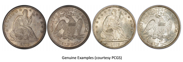"""1872-S Liberty Seated """"Half Dollar"""" attribution sheet image 2. courtesy Jack D. Young, EAC"""