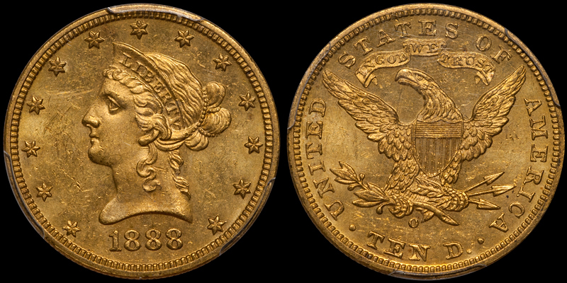 1888-O With Motto $10.00 Gold Eagle, PCGS MS63. Images courtesy Doug Winter