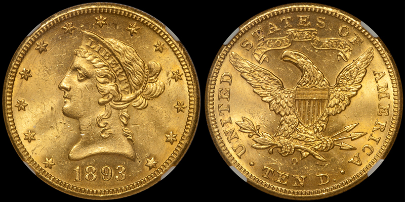 1893-O With Motto $10.00 Gold Eagle, NGC MS63. Images courtesy Doug Winter