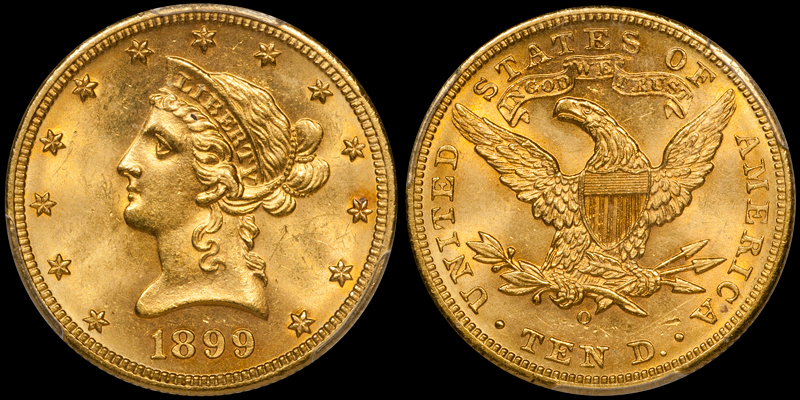 1899-O With Motto $10.00 Gold Eagle, PCGS MS64 CAC. Images courtesy Doug Winter