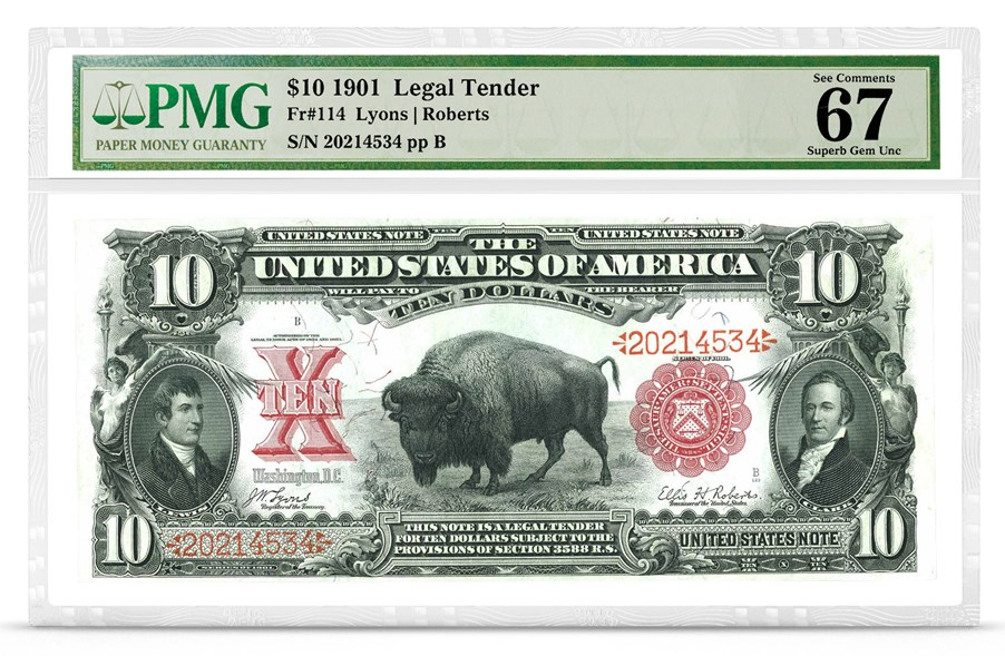 $10 1901 Legal Tender, Fr#114, Graded PMG 67 Superb Gem Uncirculated, front