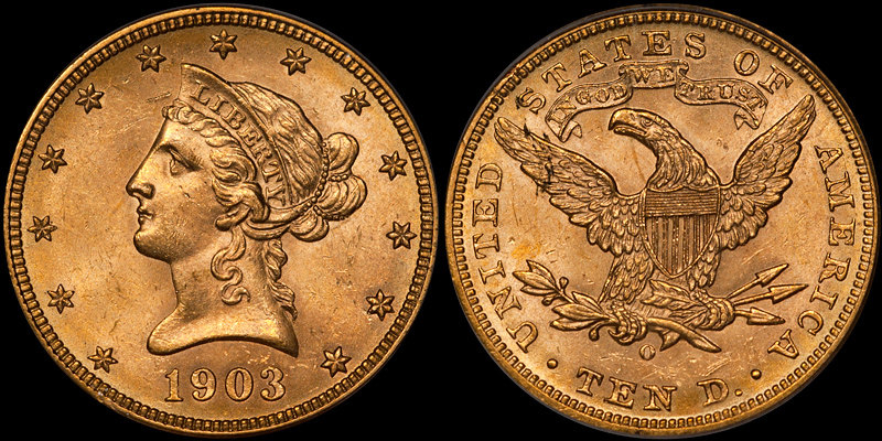 1903-O With Motto $10.00 Gold Eagle, PCGS MS64 CAC. Images courtesy Doug Winter