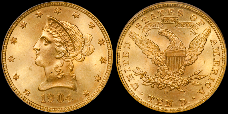 1904-O With Motto $10.00 Gold Eagle, PCGS MS65. Images courtesy Doug Winter