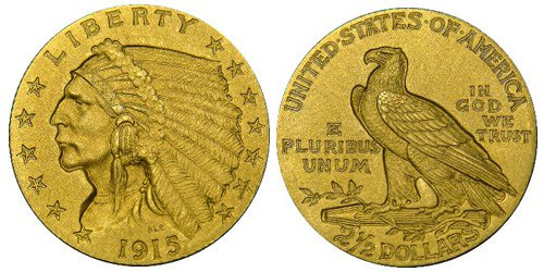 United States 1915 Indian Head $2.50 quarter eagle Proof gold coin