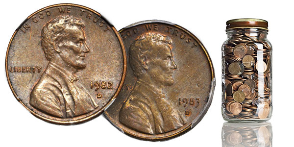 1982-D and 1983-D Cents - Rarities pulled from change