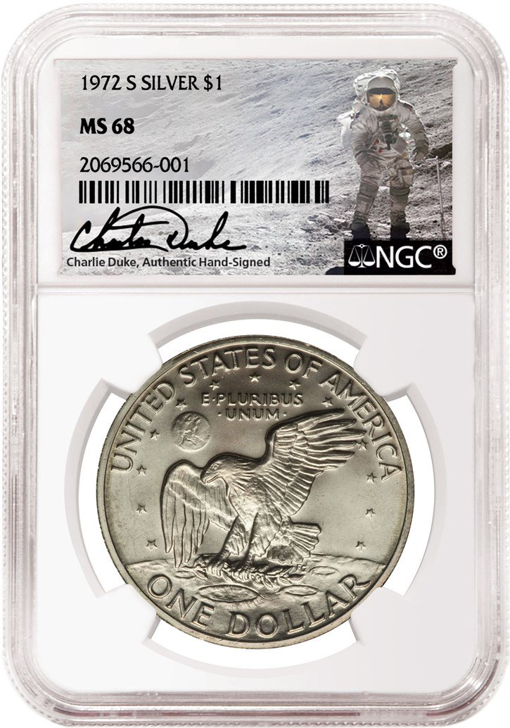 Apollo Astronaut Charlie Duke signature label for NGC certified coins