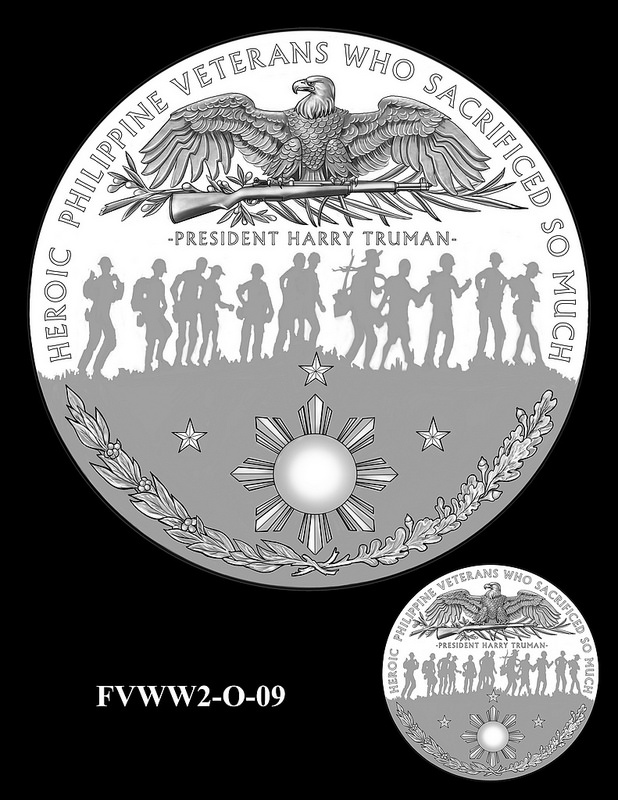 Filipino Veterans of World War 2 Congressional Gold Medal design candidates. Image courtesy U.S. Mint