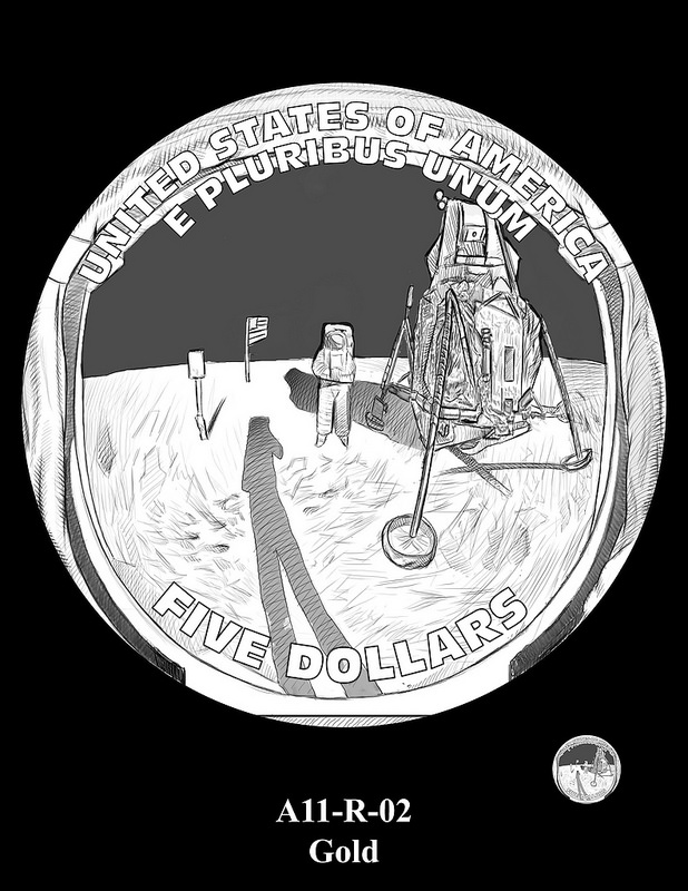 2019 Apollo 11 50th Anniversary Commemorative Coin Program design candidates. Image courtesy U.S. Mint