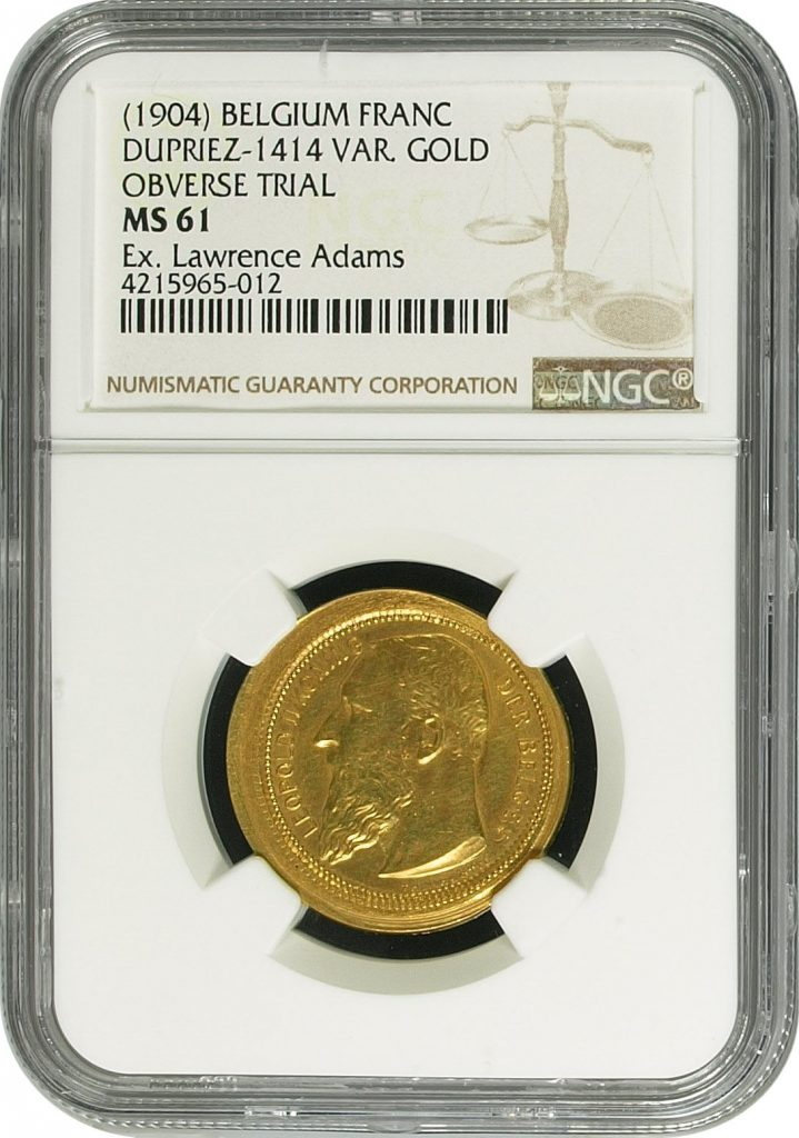 Obverse, Belgium 1904 gold overstrike, NGC. Image courtesy Mike Byers and Mint Error News