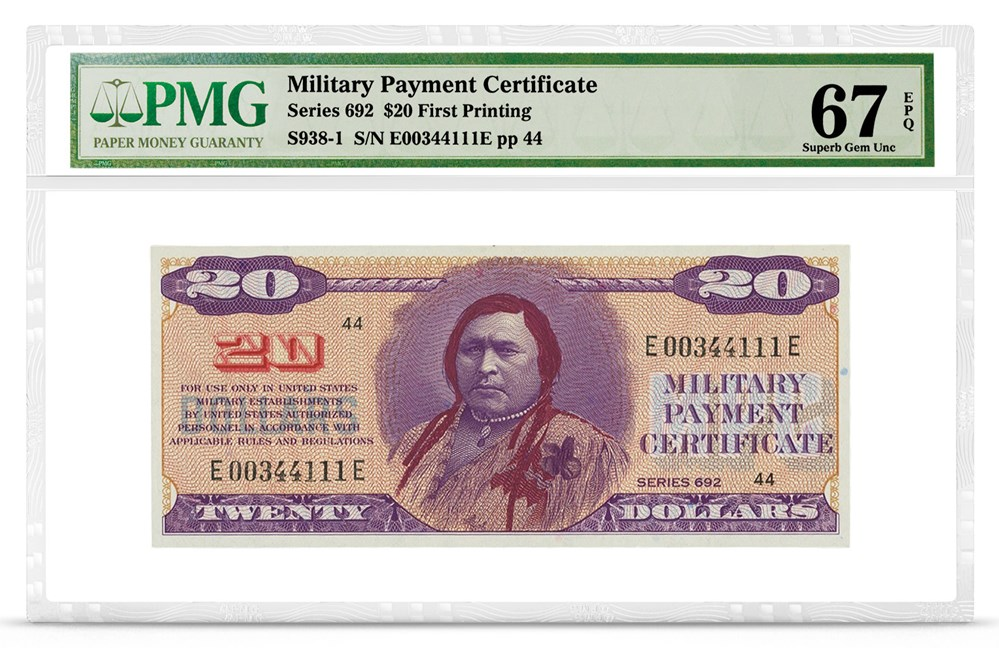 Military Payment Certificate, Series 692, $20, Graded PMG 67 Superb Gem Uncirculated EPQ, front
