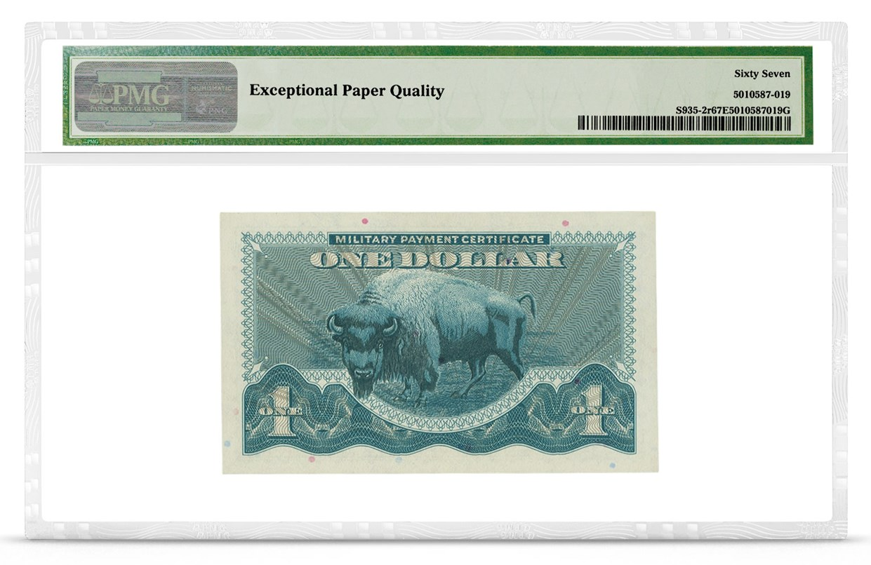 Military Payment Certificate, Series 692, $1, Graded PMG 67 Superb Gem Uncirculated EPQ, back