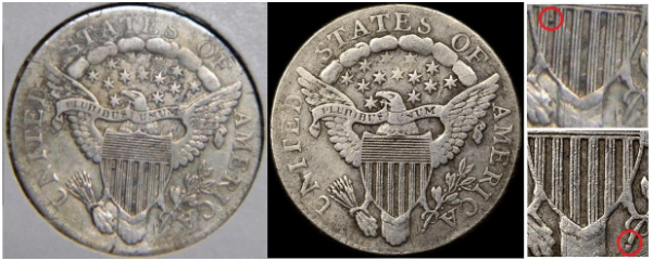 Reverse, certified example, 1807 dime