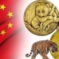 Chinese coins and medals featuring birds, pandas and other wildlife