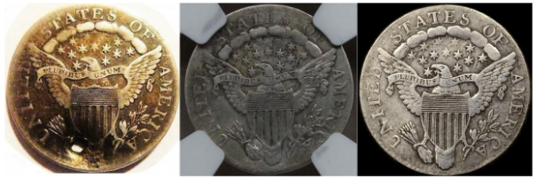 Reverse, Damaged, Certified and Raw counterfeits. Images courtesy Jack D. Young