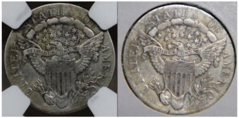 Reverse, plugged example, 1807 dime