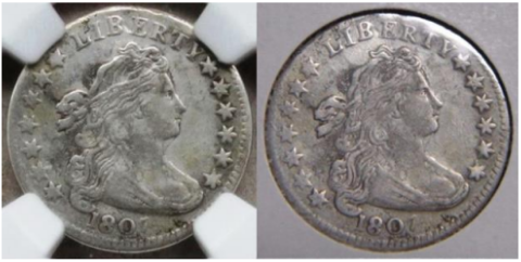 Plugged example, 1807 dime