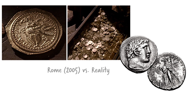 Ancient Coins - Rome (2005) film vs. Reality