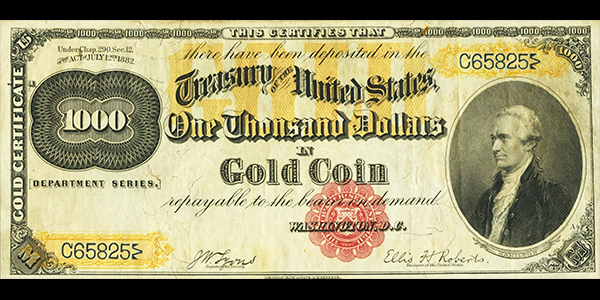 1882 Gold Certificate - Heritage Platinum Currency Auction