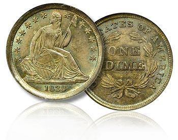 1838 dime with natural toning
