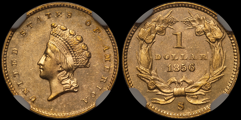 1856-S $1.00 NGC MS64 CAC. Images courtesy Doug Winter