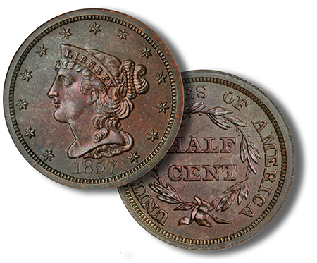 1857 Half Cent in Proof