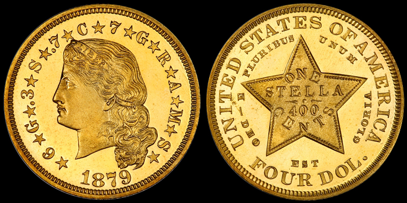 1879 FLOWING HAIR $4.00 STELLA, COURTESY OF PCGS COINFACTS