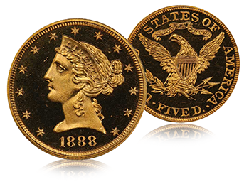 1888 Five Dollars Proof Gold