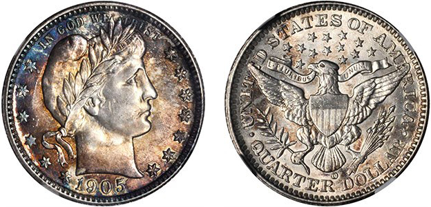1905-O Barber quarter. Images courtesy Stack's Bowers Auctions