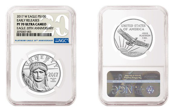 NGC label for 2017 American Platinum Eagle 20th Anniversary Proof Coin