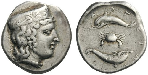 A stater from Argos. Images courtesy Classical Numismatic Group, NGC