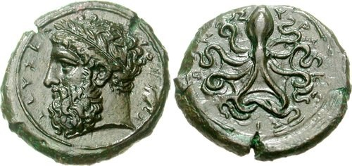 Ancient greek copper Onkia from Syracuse. Images courtesy Classical Numismatic Group, NGC
