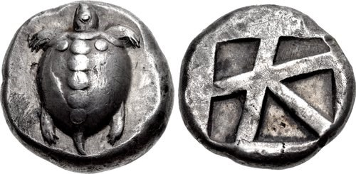 A silver stater from Aegina. Images courtesy Classical Numismatic Group, NGC