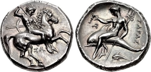 A didrachm from Taras. Images courtesy Classical Numismatic Group, NGC