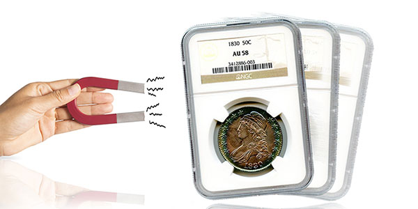 Hand holding magnet, NGC AU58 Capped Bust Half Dollar