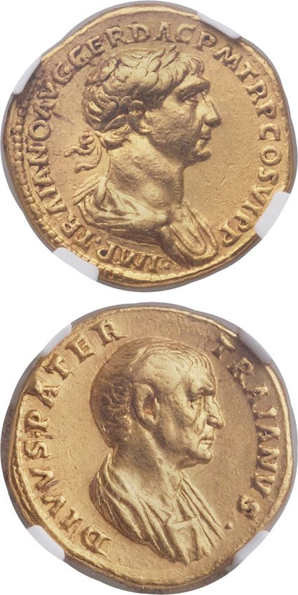 Ancient Roman gold aureus of Trajan honoring his father. Images courtesy Heritage Auctions