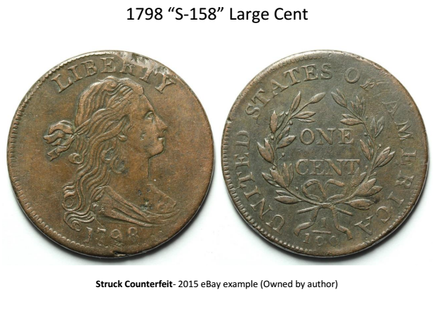 1798 large cent S-158 struck fake attribution guide 1