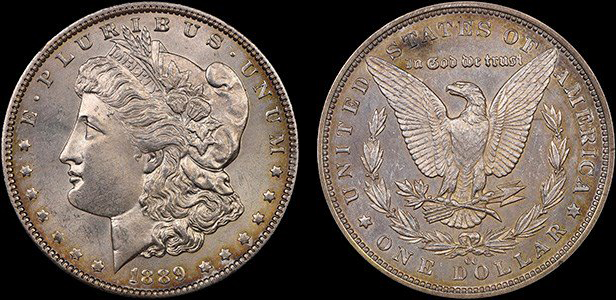 Counterfeit Coin: 1889-CC Morgan Dollar with joined halves. Images courtesy NGC