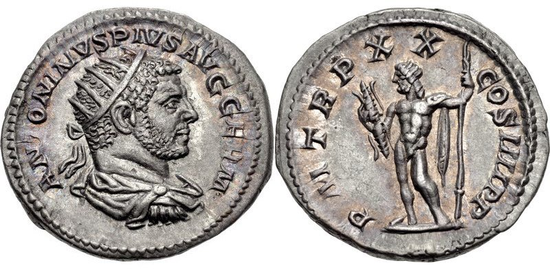 A double-denarius of the emperor Caracalla, struck in 217 CE. Images courtesy CNG, NGC