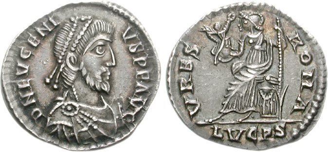 A siliqua of the rebel-emperor Eugenius, 392 to 394 CE. Images courtesy CNG, NGC