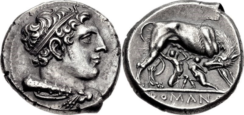 Ancient Coins: Didrachm of c.275 to 255 BCE. It shows the head of Heracles and the she-wolf suckling Romulus. Images courtesy CNG, NGC