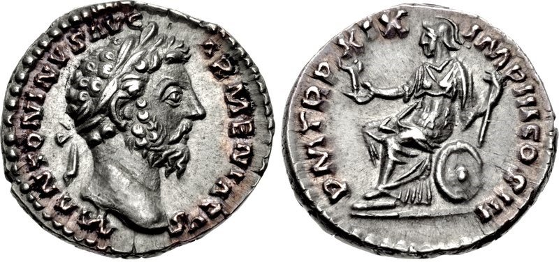A denarius of the emperor Marcus Aurelius issued in 165 CE. Images courtesy CNG, NGC