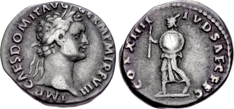 A quinarius of the emperor Domitian issued in 88 CE for Saecular Games. Images courtesy CNG, NGC