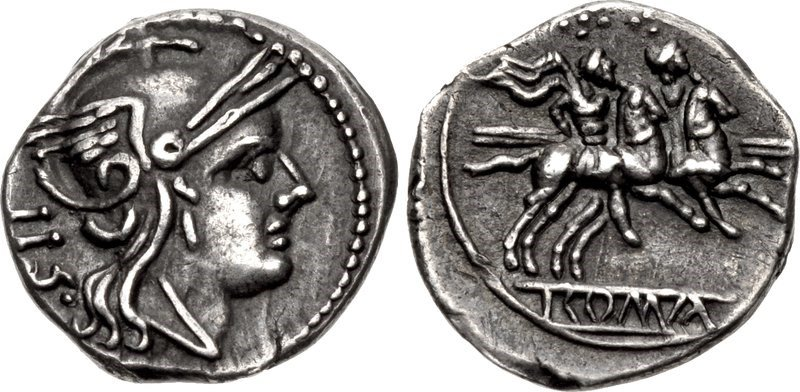 A silver sestertius issued c.211-208 BCE. Images courtesy CNG, NGC