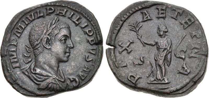 A bronze sestertius issued in 247 CE by the emperor Philip II. Images courtesy CNG, NGC