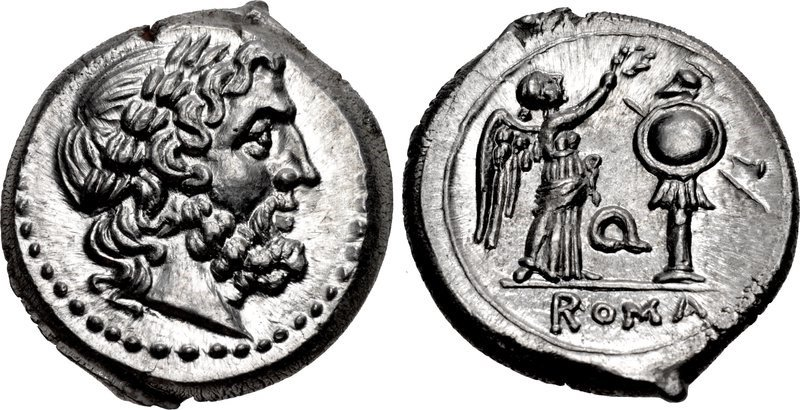 A Victoriatus issued c.211-210 BCE. Images courtesy CNG, NGC