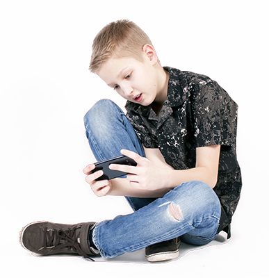 Teenager on Smartphone using Snapchat